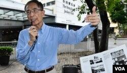 香港支聯會創會副主席李柱銘首次參與六四導賞團擔任嘉賓。(美國之音湯惠芸攝)