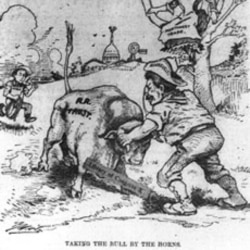 """Taking the Bull by the Horns,"" a cartoon showing President Roosevelt trying to control the railroad trusts represented by a bull"