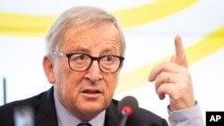 FILE - Jean-Claude Juncker, president of the European Commission, speaks during a visit to the Landtag of Baden-Württemberg, Feb. 19, 2019, in Stuttgart, Germany.