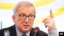 FILE - Jean-Claude Juncker, president of the European Commission, speaks during a visit to the Landtag of Baden-Württemberg in Stuttgart, Germany, Feb. 19,2019.
