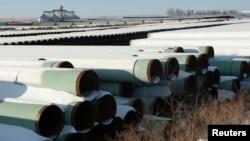 """2014年11月14日,"""" 吉斯通輸油管道 """"途徑位於北達科他州一處放置輸油管道的地方。"""