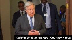 Antoinio Guterres, kalaka mokonzi ya ONU na Assemblée nationale, Kinshasa, 2 septembre 2019. (Assemblée nationale RDC)