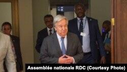 Le secrétaire général des Nations Unies, Antonio Guterres, à Kinshasa, en septembre 2019. (Assemblée nationale de la RDC)