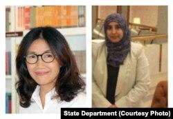 Women of Courage 2016 Awardees (L to R) Rodjaraeg Wattanapanit and Dr. Nihal Naj Ali Al-Awlaqi.