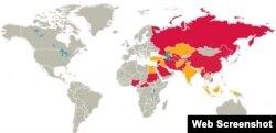 عالمی نقشے پر دنیا کے وہ ممالک جہاں مذہبی آزادیوں کی سنگین خلاف ورزیاں ہو رہی ہے۔