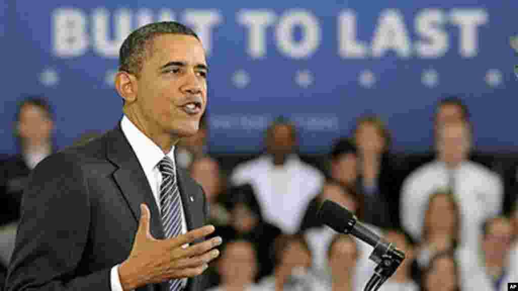 Rais Obama akizungumza kuhusu bajeti yake ya mwaka 2013 na mpango wa vyuo vikuu vidogo huko Northern Virginia Community College, Virginia, Februari 2012.