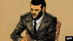 In this Pentagon-approved courtroom drawing by artist Janet Hamlin, Omar Khadr listens to replaying of McCarthy testimony, October 31, 2010.