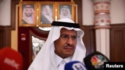 Menteri Energi Arab Saudi Prince Abdulaziz bin Salman dalam konferensi pers di Jeddah, Arab Saudi, 17 September 2019. (Foto: Reuters