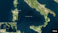 Peta lokasi Pulau Sardinia, Italia di mana kapal selam Inggris diperkirakan tenggelam (foto: dok).