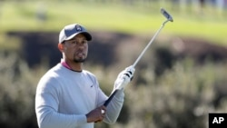 Tiger Woods walks on the 13th fairway of the North Course during the second round of the Farmers Insurance Open golf tournament at Torrey Pines Golf Course in San Diego, California, Jan. 27, 2017. It was Woods' first appearance of the season, and he missed the cut.