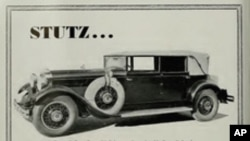 The ad on the left, for a San Francisco auto dealer, touts the merits of the 1929 Stutz, one of the classic cars made in Indiana.