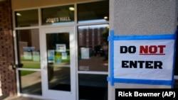 The doorway to Jones Hall is shown at Utah State University Wednesday, Sept. 2, 2020