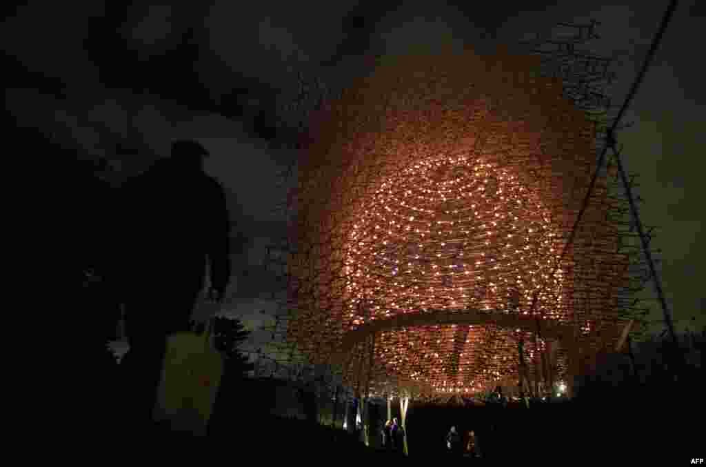 មនុស្សម្នាដើរកាត់ពិព័រណ៍ភ្លើងពណ៌ Hive Installation របស់សិល្បករ Wolfgang Buttress នៅសួន Kew Garden ភាគខាងត្បូងក្រុងឡុងដ៍ កាលពីថ្ងៃទី២២ ខែវិច្ឆិកា ឆ្នាំ២០១៦។