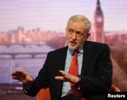 FILE - Britain's opposition Labour Party leader Jeremy Corbyn appears on the BBC's Andrew Marr Show in this photograph received via the BBC in London, Jan. 15, 2017.