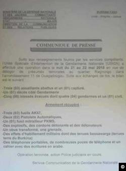 Le communiqué de la gendarmerie à Ouagadougou, le 22 mai 2018.