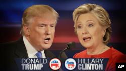 Capres AS dari partai Republik, Donald Trump (kiri) dan Capres AS dari partai Demokrat, Hillary Clinton (kanan).