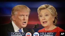9일밤 2차 TV 토론회를 앞두고 있는 공화당 도널드 트럼프 후보와 민주당 힐러리 클린턴 후보