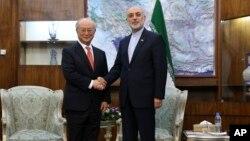 Kepala IAEA Yukiya Amano (kiri) bertemu dengan Kepala Badan Tenaga Atom Iran, Ali Akbar Salehi di Teheran hari Minggu (20/9).