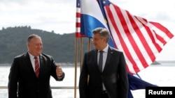 美國國務卿蓬佩奧和克羅地亞總理安德烈·普倫科維奇在杜布羅夫尼克舉行會晤。 (2020年10月2日)