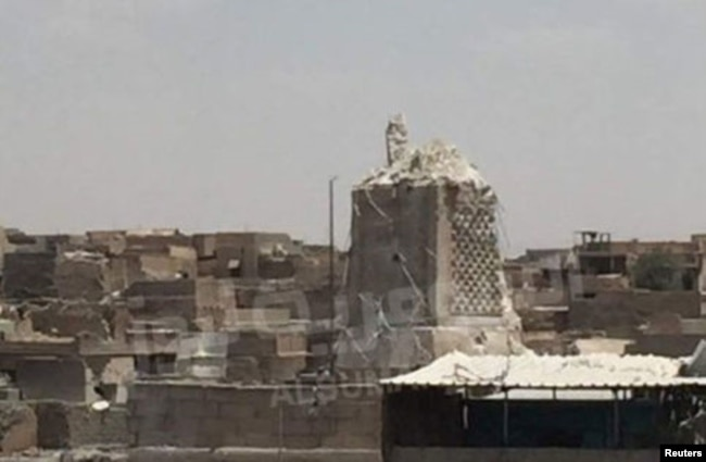 The destroyed Al-Hadba minaret at Grand al-Nuri Mosque is shown in Mosul, Iraq, June 22, 2017.