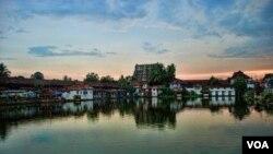 Kuil kuno Sri Padmanabhaswamy di negara bagian Kerala, India selatan.