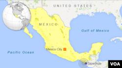 Bản đồ nơi xảy ra trận động đất mạnh gần Tapachula, Mexico.