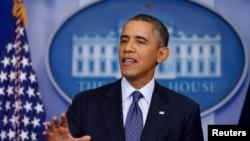 Tổng thống Obama nói về việc chính phủ đóng cửa và mức trần nợ tại Phòng Báo chí Tòa Bạch Ốc, ngày 8/10/2013.