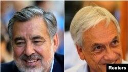 El candidato oficialista Alejandro Guillier (izquierda) y el expresidente conservador Sebastián Piñera se disputan la presidencia de Chile en un balotaje el domingo 17 de diciembre de 2017.
