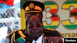 FILE: Zimbabwe President Robert Mugabe addresses crowds gathered for the country's 33rd independence celebrations at the National Sports stadium in Harare, April 18, 2013.