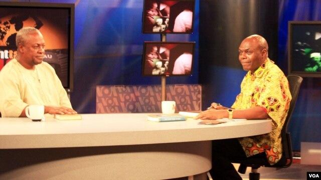 Ghana Vice President John Dramani Mahama (left) with Shaka Ssali