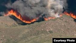 山林大火席卷山脊(圣贝纳迪诺县消防队提供照片)
