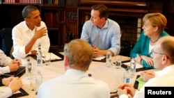 U.S. President Barack Obama meets with T-TIP members at the G8 Summit at Lough Erne in Enniskillen, Northern Ireland.