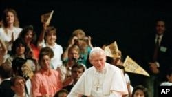 1987年9月15日约翰.保罗二世在美国加州洛杉矶发表演讲