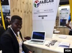Reine Imanishimwe is a wood innovator from Rwanda. (VOA/ L. Bryant)