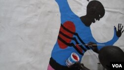 A man living with HIV paints his body map in Kisumu, Kenya, July 6, 2011. (Photo: VOA/X. Verhoest)