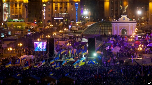Protesters rally at Independence Square in Kyiv, Ukraine, on Dec. 2, 2013, as anger mounts at the decision to ditch a deal that would bring closer ties to the European Union.