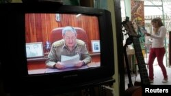 FILE - A television shows Cuba's President Raul Castro speaking during a television broadcast in Havana, Dec. 17, 2014.