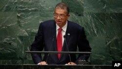 Le Premier ministre béninois Lionel Zinsou devant l'Assemblée générale de l'Onu à New york, le 30 septembre 2015. (AP Photo/Frank Franklin II)