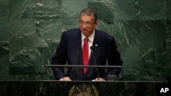 Le Premier ministre Lionel Zinsou à la tribune des Nations unies, le 30 septembre 2015 (AP Photo/Frank Franklin II)