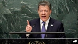 Colombia's President Juan Manuel Santos addresses the 71st session of the United Nations General Assembly, at U.N. headquarters, Sept. 21, 2016.