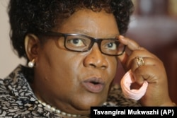 FILE - Joice Mujuru, a former Zimbabwe vice president, wants to lead the country. She's shown in 2016.