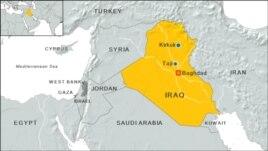 Locator map of towns Taji and Kirkuk, Iraq