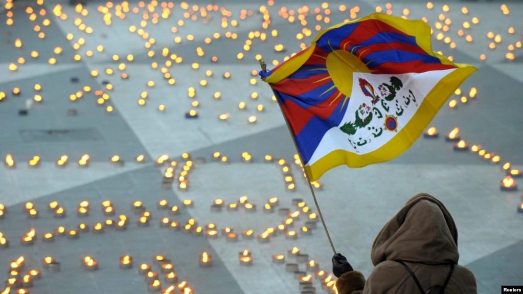 2008年3月21日瑞典斯德哥爾摩有人抗議中國打壓西藏人示威。