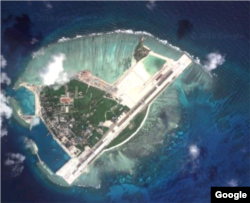 A satellite view of Woody Island.