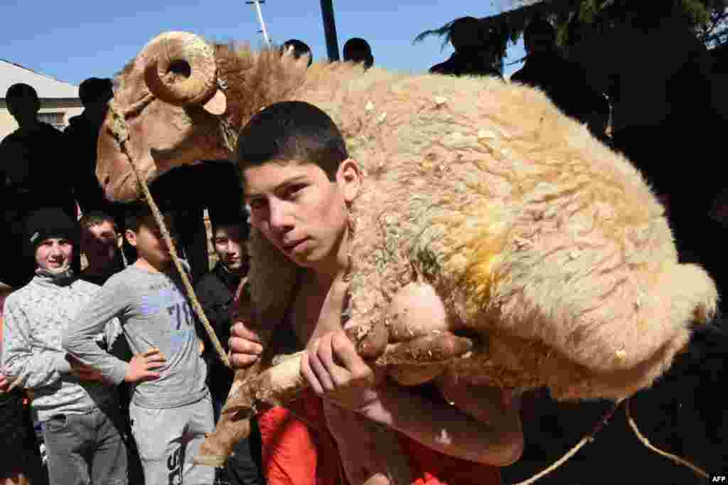 A boy carries his trophy - a sheep - after winning an amateur wrestling tournament during the celebrations of Nowruz (New Year) outside Tbilisi, Georgia.