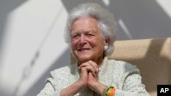 FILE - Barbara Bush, Aug. 22, 2013.