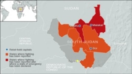 South Sudan areas of conflict and areas that are rebel-held