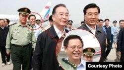 海南省委常委、副省长谭力过去任职四川时跟随胡锦涛、温家宝视察(网上资料照片)