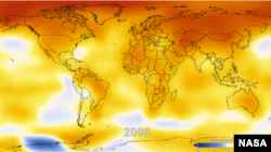 NASA releases a video showing Earth's surface temperatures since 1880.