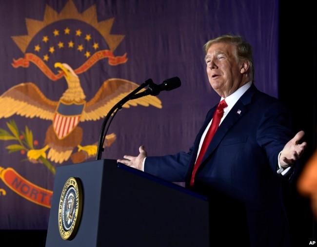 特朗普总统在北达科他州的筹款活动中讲话(2018年9月7日)